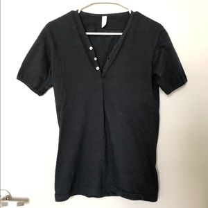 Men's Black Henley Top